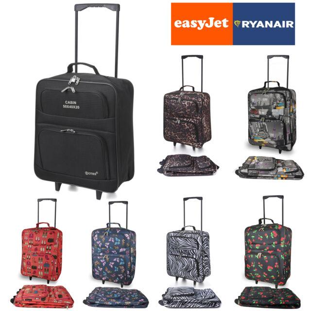EasyJet RyanAir Foldable Hand Luggage Wheeled Travel Cabin Fold up 55 x 40 x20