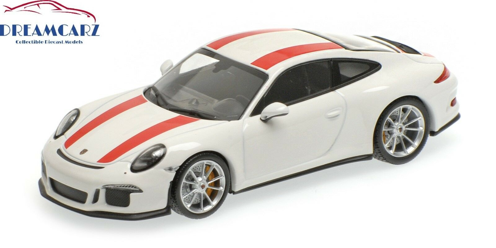 Minichamps 410066220  Porsche 911 R, 2016, bianca with rosso Stripes