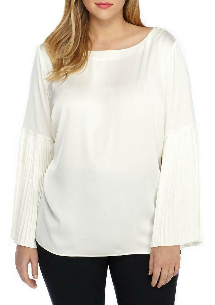THE LIMITED® Plus Size 1X Marshmallow Ivory Pleated Bell Sleeve Blouse NWT