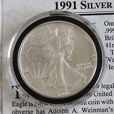 USA 1991 1oz .999 SILVER EAGLE DOLLAR - coa