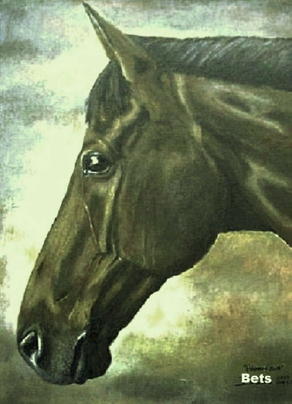 HORSE PRINT  Giclee BAY Horse PRINCETON artist BETS 5 COLORS print size 14 X 18  the lowest price