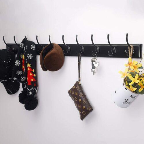 "Wall Mounted Coat Hanger Rack 10 Double Hooks 38-1//4/"" Long 16/"" Hole to Hole"