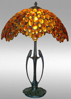 """HAND CRAFTED - LUXURY TIFFANY LAMP -AMBER TABLE AND BEDSIDE LAMP LARGE BIRDS 24"""""""