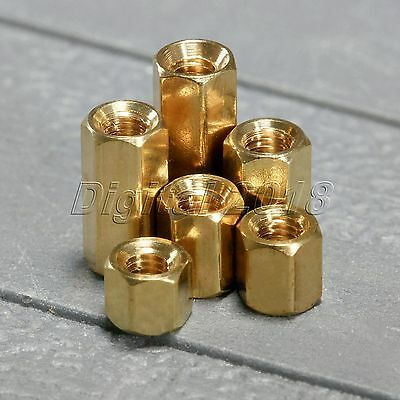 50Pcs Brass Female Nut  M3 x 4/5/6/8/10/12mm PCB Board Standoff Spacer Set Craft