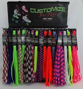 Criss-Cross-Fat-Laces-Skate-Length-72-034-183-CM-3-4-034-Cotton-Blend-Molded-Plastic