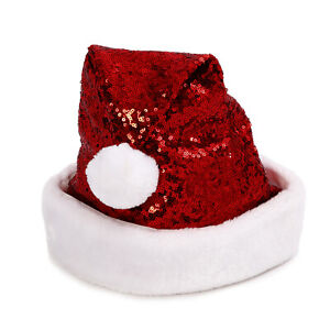 Red-Sequin-Santa-Hat-With-Faux-Fur-Trim-Border-and-Puffy-Ball