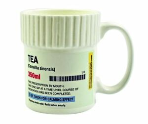 Pill pot shaped tea mug ceramic funny prescription for Funny shaped mugs