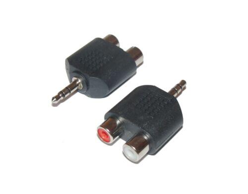 3,5 mm Stereo-Klinken Stecker auf 2x Cinch Kupplung Chinch Y Adapter