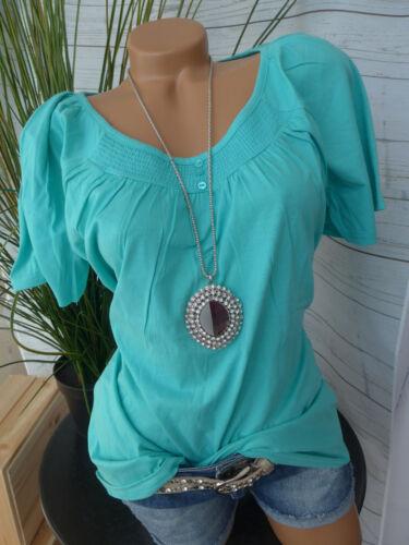 NEUF Sheego Shirt Femme Taille 40//42 à 44//46 manches courtes Aqua Turquoise 776