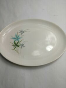 Vintage-Mid-Century-Sabin-China-blue-gray-green-tiger-lily-flower-platter-13-1-4
