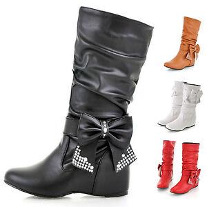 Damen-Stiefel-Keilabsat-Boots-Lederoptik-Stiefeletten-Schuhe-Schleife-Gr-30-48