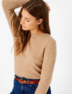 M-amp-S-Marks-Spencer-Women-VISCOSE-ROUND-NECK-Longline-Jumper-Brown-Sweater-Top