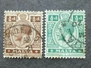 1914 Malta King George V Wmk Multi Crown CA 1/4d & 1/2d - 2v Used