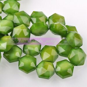 5pcs-14mm-Hexagon-Shape-Faceted-Glass-Loose-Spacer-Beads-Porcelain-Green
