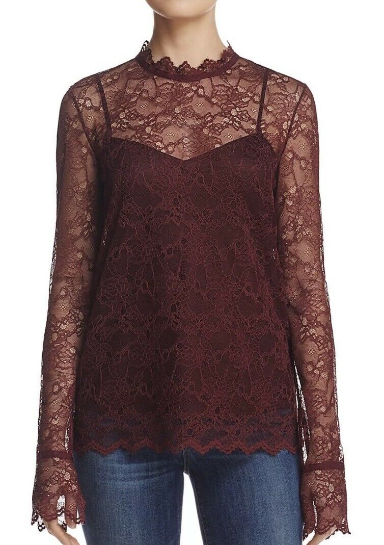 NWT  theory LS 2pc Scalloped light lace bell sleeve blouse top H0907504 L