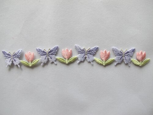 Yellow,Purple Butterfly w//Pink,Purple Flower Embroidery Iron On Applique Patch