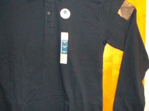 """Details about  /NEW /""""FADED GLORY BOY/'S DARK NAVY  2 BUTTON FRONT L//S  COTTON POLO SHIRT..#3"""