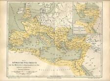 Carta geografica antica IMPERO DI ROMA Mediterraneo 2 sec. 1890 Old antique map