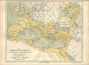 Cartina Geografica Mediterraneo Occidentale.Carta Geografica Antica Impero Di Roma Mediterraneo 2 Sec 1890 Old Antique Map Ebay
