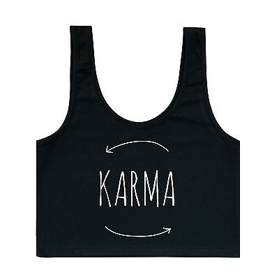 KARMA BRA TOP CROP T SHIRT WOMENS GIRLS TUMBLR FUN HIPSTER GRUNGE RETRO INDIE
