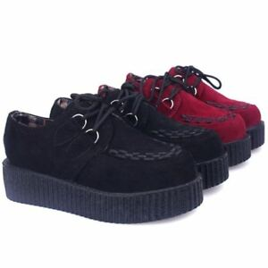 Casual Women Creepers Platform Shoes Floral Lace up Thick Soles Chunky thbox
