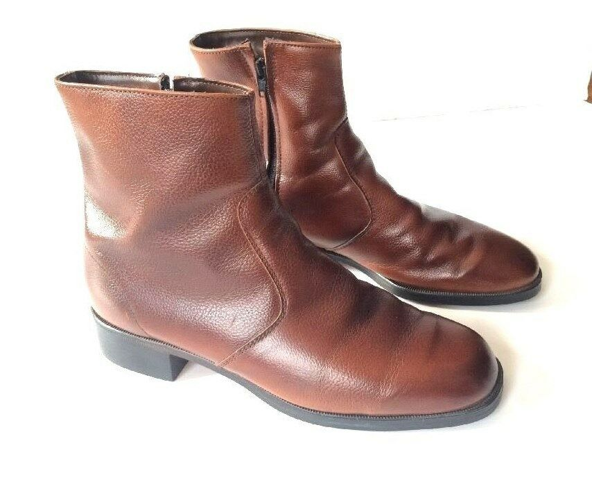 Vintage USA JC Penny Hipster Beatnik Side Zip Brown Leather Ankle Boots Mens 9.5