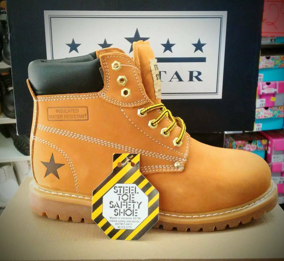 Five Star Work Water Boot Steel Toe, Insulated, Water Work Resistant, Oil Resistant-Wheat 237387