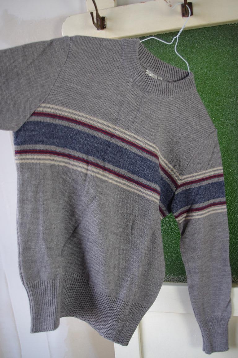 Herren Streifen Pullover NOS Wolle True Vintage 80er grau wool sweater 80s Grau