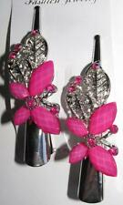 New 2 Pink Butterfly Hair Clips Rhinestones Crystals Alligator Clip Barrettes