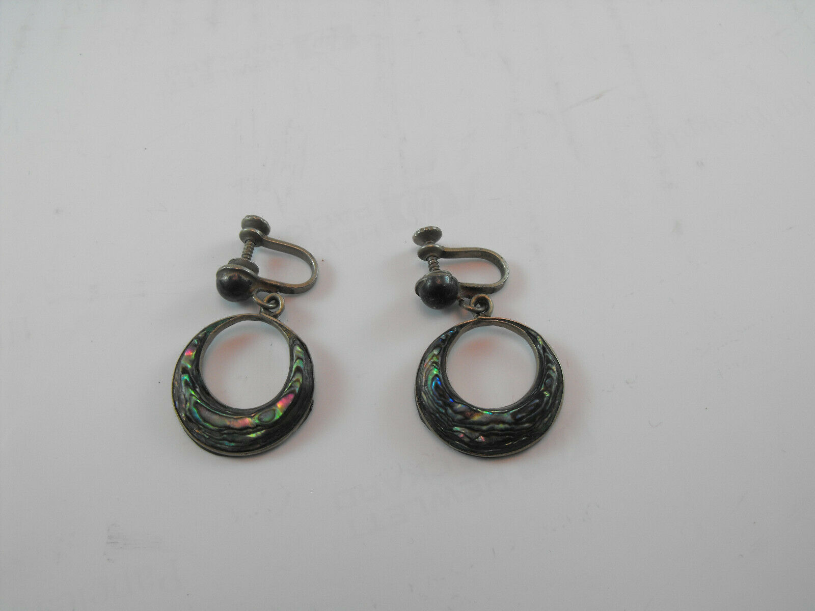 Mexico Sterling Abalone earrings vintage sterling silver abalone screw back modernist mid century Mexican jewelry earrings signed