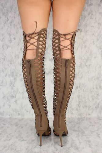 4.5 inch Strappy Caged Knee High Gladiator boots Stiletto Heel Pumps Sandals G30
