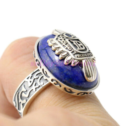 Vampire Diaries Damon 925 Sterling Silver Ring Natural Lapis Lazuil