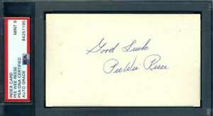 Pee Wee Reese Mint 9 PSA DNA Coa Autograph Hand Signed 3x5 Index Card