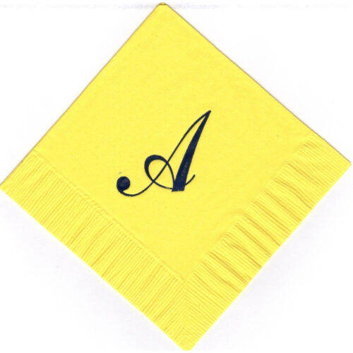 Extra Large Single Monogram A 50 Personalized printed cocktail beverage napkins