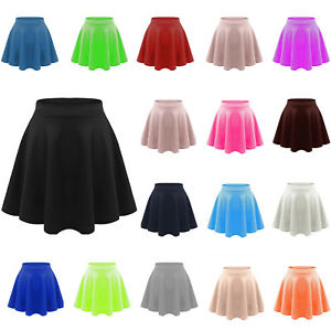 ae91cd527c Details about PAPAVAL KSS KIDS GIRLS HIGH WAISTED STRETCH PLAIN FLIPPY  FLARED SKATER SKIRT