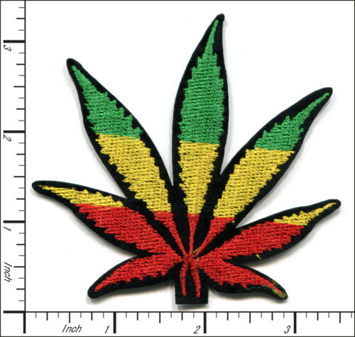 25 Pcs Embroidered Iron on patches Colorful Hemp Leaf  AP022kE5