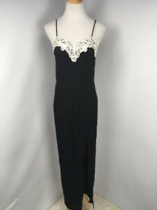 Vintage 80s 90s Prom Formal Black Lace Dress Jump Apparel Size 9 10 ... 29f5b36d5