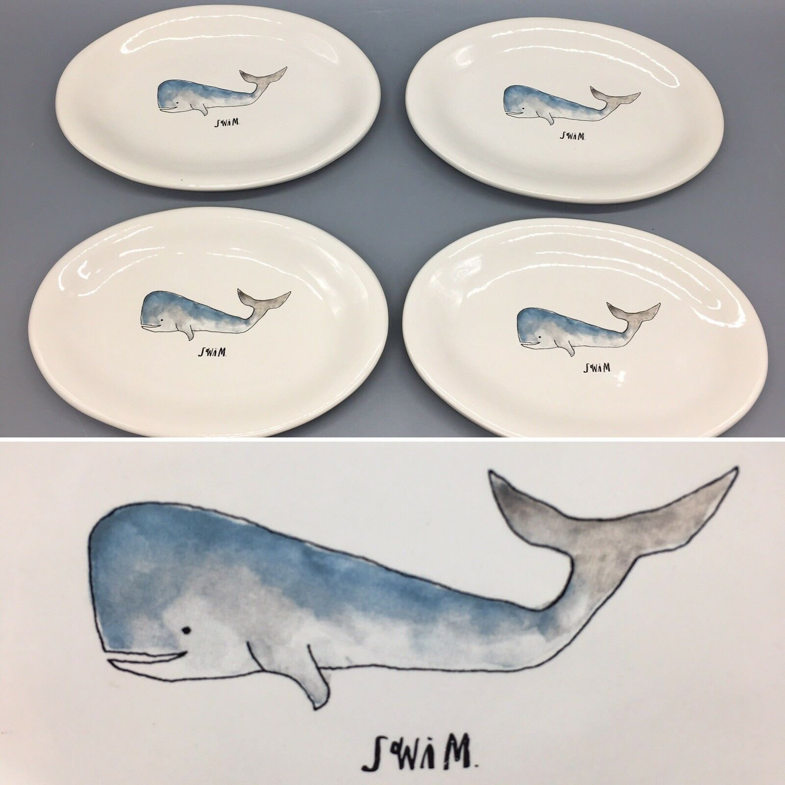 X4 Rae Dunn Assiette Ovale Set baleine nager Nautical Ocean Sea Life apéritif NEUF