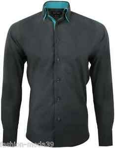 TURQUOISE ENZO DOUBLE HOMME YVES CAMICIA CINTREE SLIMFIT CHEMISE COL pn8HSI00W