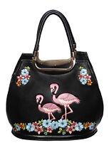 Banned Floral Flamingo Rockabilly Vintage Retro Pin Up Handbag Faux Leather Bag