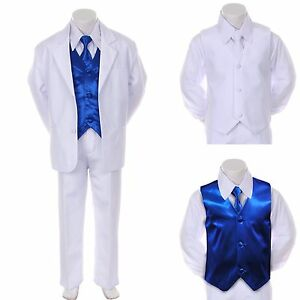 8345cefc9c66 Boy Teen Formal Wedding Party Prom White Suit Tuxedo + R Blue Vest ...