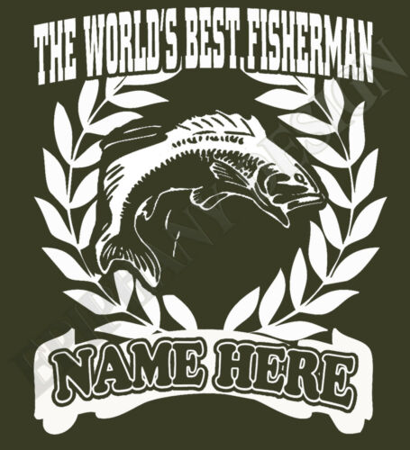 Fishing Fisherman Angler T-Shirt Men Women  Personalised Add Name Great Gift