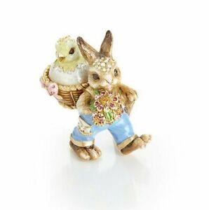 Jay Strongwater Sonny Bunny and Basket Box Gold, Swarovski SDH2548-256 NEW