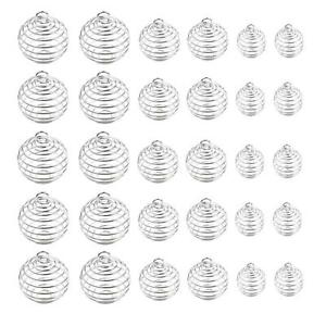 30-Pcs-Silver-Plated-Spiral-Bead-Cages-Pendant-for-Jewelry-Craft-Making-zz