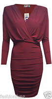 Womens Ladies Wrap Over Side Gathered Ruched Slinky Stretch Bodycon Party Dress