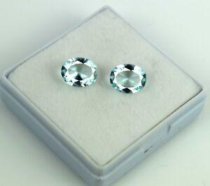 100-Natural-Aqua-Blue-Aquamarine-3-75-Ct-Gemstone-Pair-Oval-Cut-AGSL-Certified
