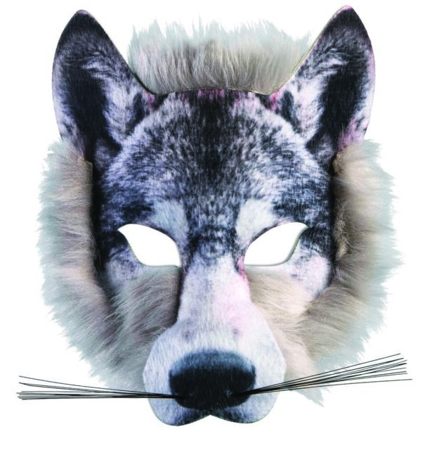 Adult Overhead Wolf Mask Silver Halloween Werewolf Fancy Dress Accessory New