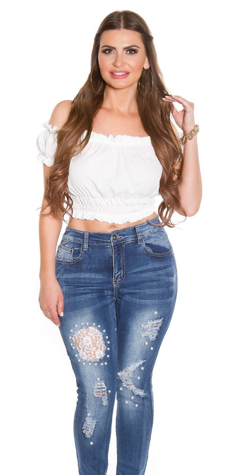 Curvy Girls Damen Jeanshose Skinny Jeans Used Used Used Look mit Zierperlen und Spitze | Queensland  | Um Sowohl Die Qualität Der Zähigkeit Und Härte  | Ausgezeichnete Qualität  | Überlegene Qualität  | 2019  056a67