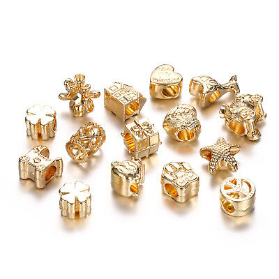 10pcs Rose Gold Brass European Beads Smooth Rondelle Large Hole Charms 8x5.5mm