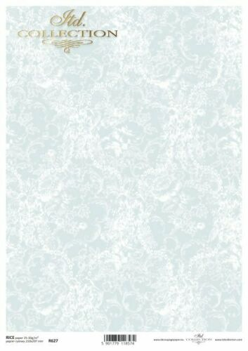 Reispapier-Motiv Strohseide-Decoupage-Serviettentechnik-Vintage-Damast-R0627